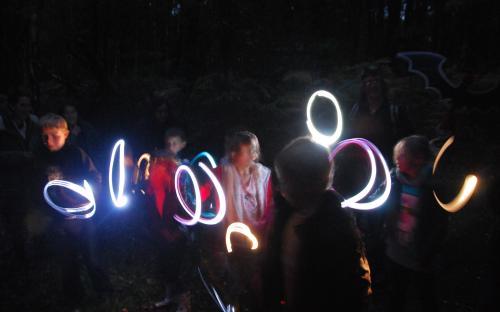 Swirly lights in the night