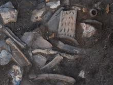 the pottery as found